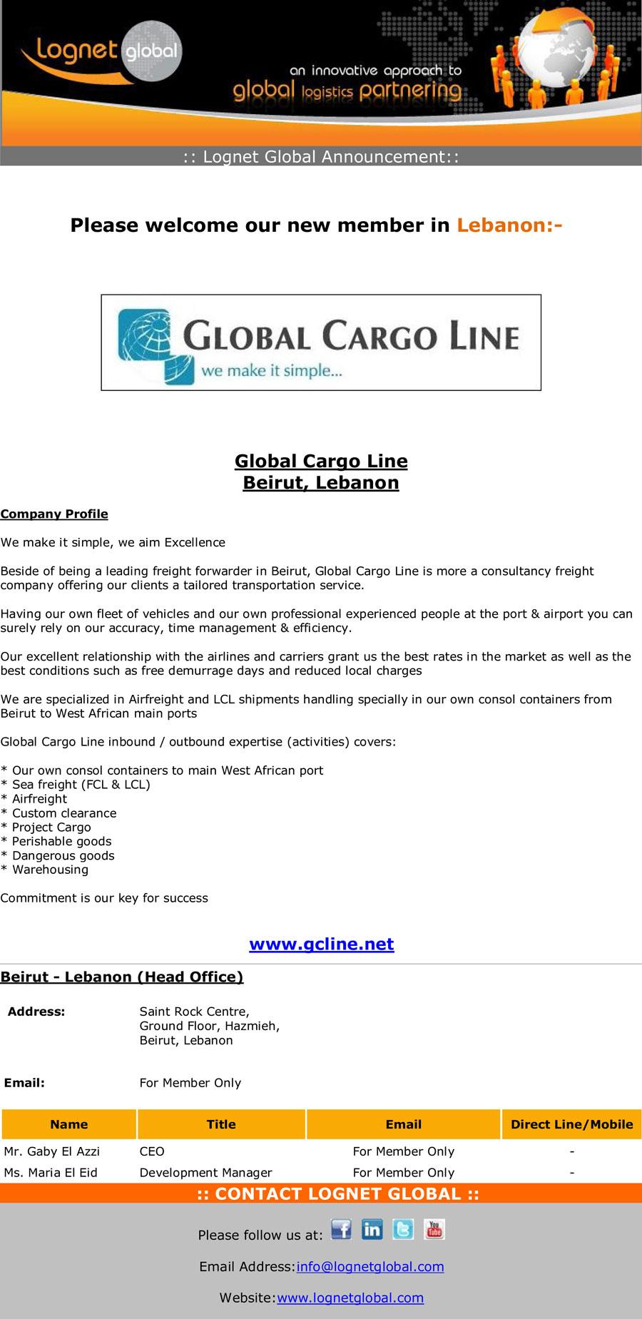 New Member - Global Cargo Line – Logistics Network – Lognet Global